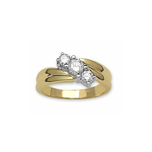 IMAGE OF 71-1827 Diamond Promise Ring_White and yellow gold 3 diamond style