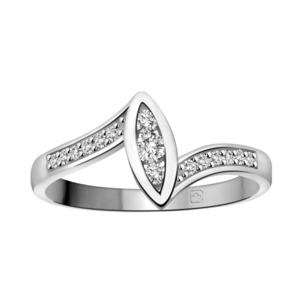 image of 71-DB46 PROMISE RINGS_UNIQUE STYLE DIAMOND SET FRIENDS RING