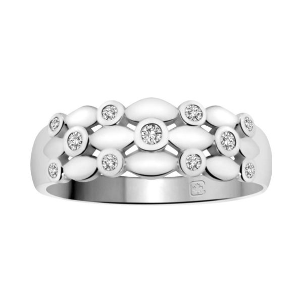 image of 71-DB47 PROMISE RINGS_UNIQUE STYLE DIAMOND SET FRIENDS RING_DB47