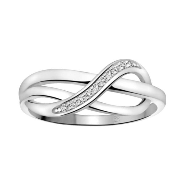 image of 71-DB49 PROMISE RINGS_UNIQUE STYLE DIAMOND SET FRIENDS RING_DB49