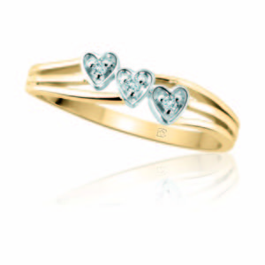image of 71-LL127 PROMISE RINGS_TRIPLE HEART DIAMOND PROMISE RING