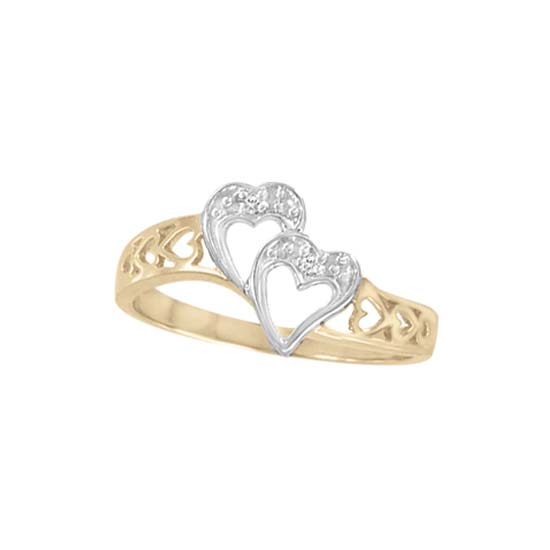 image of 71-LL130 PROMISE RINGS_UNIQUE DOUBLE HEART STYLE DIAMOND SET FRIENDS RING