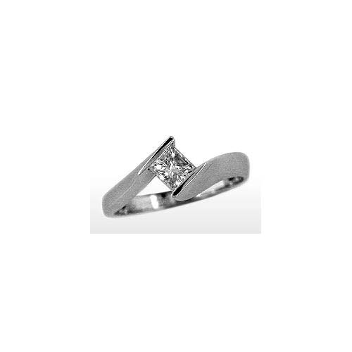 image of 71-PR292a PROMISE RING_Brilliant Solitaire set with princess cut diamond