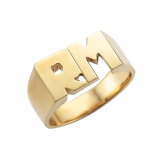 image of INITIAL RINGS_ UNIQUE DESIGN DOUBLE INITIALS _RM-290 _ 9.56g in 14kt 9.25mm wide_solid under