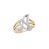 image of Initial ring_ Ladies diamond initial ring yellow gold_A