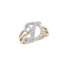 image of Initial ring_ Ladies diamond initial ring yellow gold_D