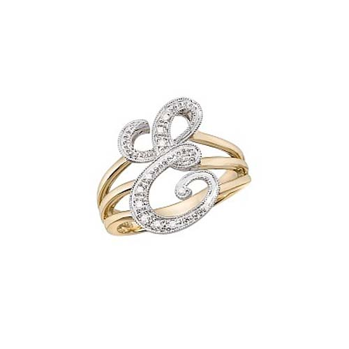 image of Initial ring_ Ladies diamond initial ring yellow gold_E