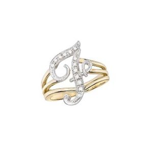 image of Initial ring_ Ladies diamond initial ring yellow gold_F