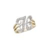 image of Initial ring_ Ladies diamond initial ring yellow gold_H