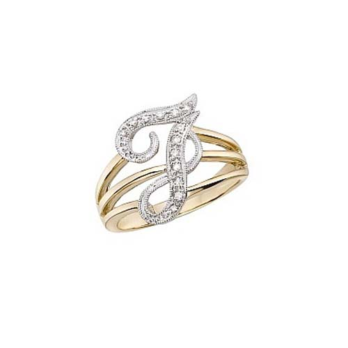 image of Initial ring_ Ladies diamond initial ring yellow gold_J