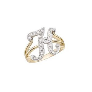 image of Initial ring_ Ladies diamond initial ring yellow gold_K