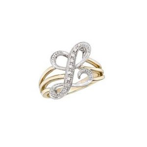 image of Initial ring_ Ladies diamond initial ring yellow gold_L