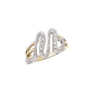 image of Initial ring_ Ladies diamond initial ring yellow gold_M