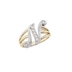 image of Initial ring_ Ladies diamond initial ring yellow gold_N