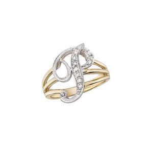 image of Initial ring_ Ladies diamond initial ring yellow gold_P