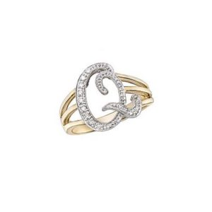 image of Initial ring_ Ladies diamond initial ring yellow gold_Q