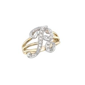 image of Initial ring_ Ladies diamond initial ring yellow gold_R