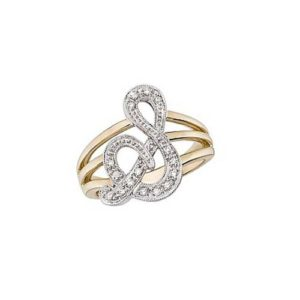image of Initial ring_ Ladies diamond initial ring yellow gold_S