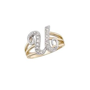 image of Initial ring_ Ladies diamond initial ring yellow gold_U