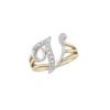 image of Initial ring_ Ladies diamond initial ring yellow gold_V
