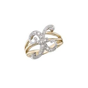 image of Initial ring_ Ladies diamond initial ring yellow gold_X