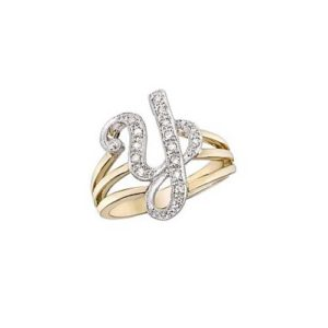 image of Initial ring_ Ladies diamond initial ring yellow gold_Y