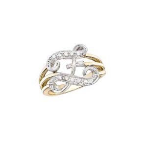 image of Initial ring_ Ladies diamond initial ring yellow gold_Z