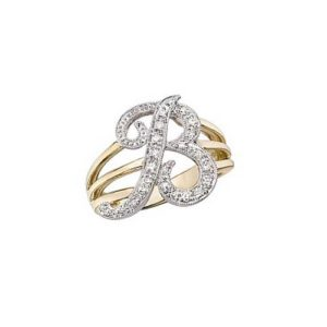 image of Initial ring_ Ladies diamond initial ring yellow gold_b