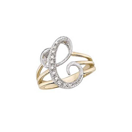 image of Initial ring_ Ladies diamond initial ring yellow gold_c