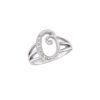 image of Initial ring_ Ladies diamond initial ring yellow gold_O