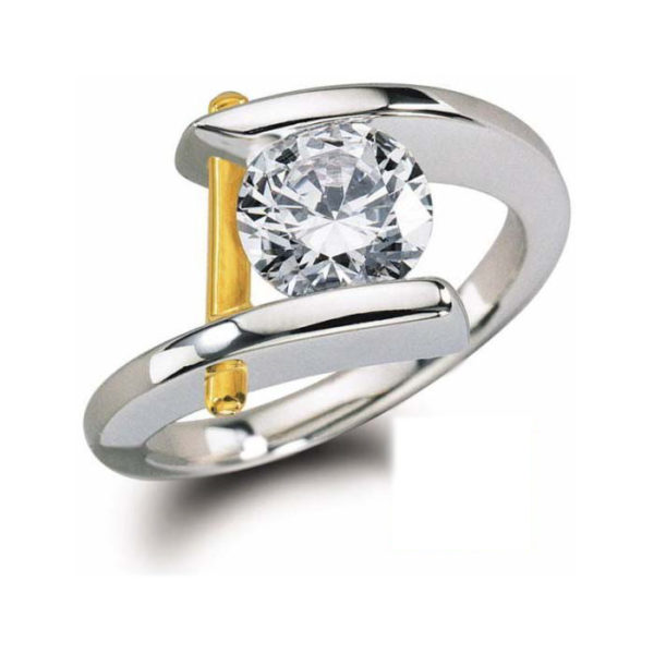 image of a 31-X833A Diamond Promise Ring_ONE CARAT White and yellow gold JUST A BEAUTY