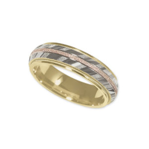image of 11-770 WEDDING BANDS_TRI COLOR GOLD STYLE COMFORT FIT 6MM WIDE
