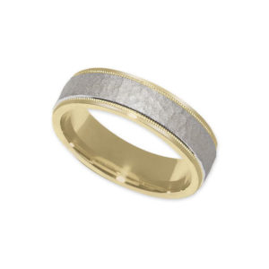 IMAGE OF 11-772 WEDDING BANDS_TWO TONE HAMMER FINISHED STYLE, COMFORT FIT