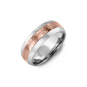 IMAGE OF 11-A108 WEDDING RINGS_ DIAMOND SET BAND TWO TONE WEDDING BAND WITH ROSE GOLD