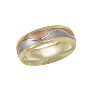 IMAGE OF 11-BS268 WEDDING BANDS_UNIQUE STYLE TRI COLOR HAMD MADE COMFORTFIT 8MM WIDE