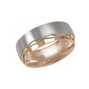 IMAGE OF 11-BS276 WEDDING BANDS_UNIQUE STYLE TRI COLOR HAMD MADE COMFORTFIT 8MM WIDE