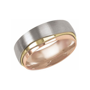 IMAGE OF 11-BS278 WEDDING BANDS_UNIQUE STYLE TRI COLOR HAMD MADE COMFORTFIT 8MM WIDE