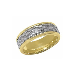 IMAGE OF 11-C700 WEDDING BANDS_CELTIC TWO TONE STYLE COMFORTFIT 6MM WIDE