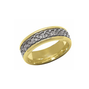 IMAGE OF 11-C702 WEDDING BANDS_TWO TONE STYLE COMFORTFIT 6MM WIDE