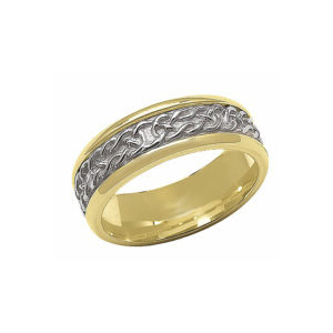 IMAGE OF 11-C703 WEDDING BANDS_TWO TONE STYLE COMFORTFIT 6MM WIDE