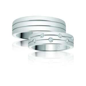 image of 21-2100 WEDDING BANDS_ HIS AND HERS MATCHING RINGS WITH DIAMONDS