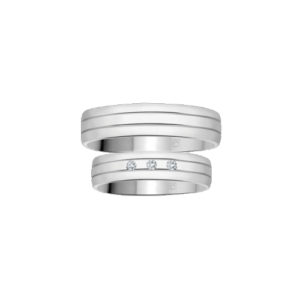 image of 21-2101 WEDDING BANDS_ HIS AND HERS MATCHING RINGS WITH DIAMONDS
