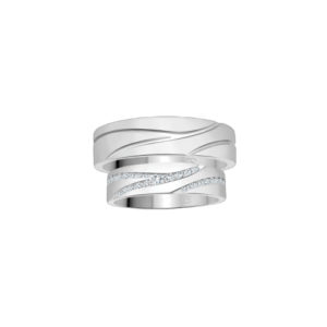 image of 21-2103 WEDDING BANDS_ HIS AND HERS MATCHING RINGS WITH DIAMONDS