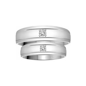 image of 21-2104 WEDDING BANDS_ HIS AND HERS MATCHING RINGS WITH DIAMONDS