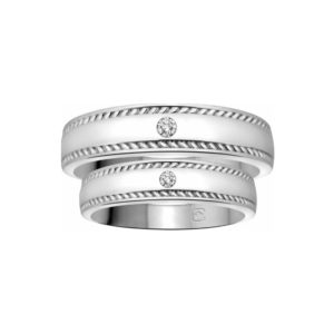 image of 21-2105 WEDDING BANDS_ HIS AND HERS MATCHING RINGS WITH DIAMONDS