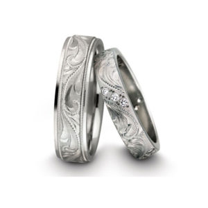 IMAGE OF 21-2106 WEDDING BANDS_ HIS AND HERS MATCHING RINGS WITH DIAMONDS