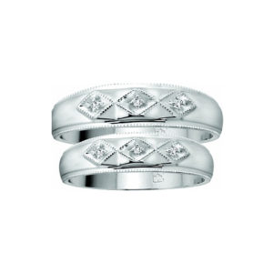 IMAGE OF 21-2107 WEDDING BANDS_ HIS AND HERS MATCHING RINGS WITH DIAMONDS