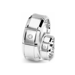 IMAGE OF 21-2110 WEDDING BANDS_ HIS AND HERS MATCHING RINGS WITH DIAMONDS