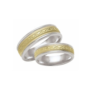 IMAGE OF 21-2138 WEDDING BANDS_ HIS AND HERS MATCHING RINGS TWO TONE HAND FINISHED