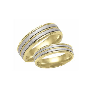 IMAGE OF 21-2139 WEDDING BANDS_ HIS AND HERS MATCHING RINGS TWO TONE HAND FINISHED